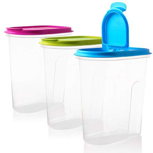 2friends Vorratsdosen Set Schüttdosen 3 Stück mit Klappdeckeln, 5 Liter, 100% recyclebar, ideale Größe z.B. als Müslispender, für Cornflakes oder Vorratsbehälter, Made in EU. 3 Farben