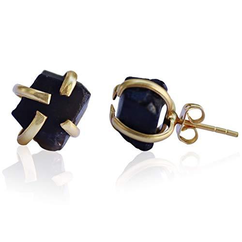 Handmade Raw Smoky Quartz Natural Stone Black Gray Stud Earrings 18K Gold Plated June Birthstone Hypoallergenic Crystal Gemstone Jewelry by TheGlamHarbor