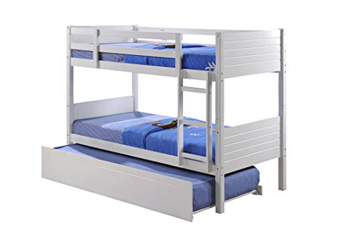 Visco Therapy Lala Bunk Bed, Stylish White Wooden Frame with Drawers or Trundle. (Frame with Trundle)