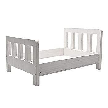 Baby Photography Bed Baby Photo Props White Wood Doll Bed Detachable Photo Background for Baby Photo Studio
