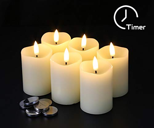 Eywamage Flameless Pillar Candles D 2' H 3' Flickering Real Wax LED Votive Candles with Timer Battery Operated 6 Pack Ivory
