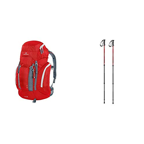 Ferrino Alta Via Zaino, Rosso, 35 & GTA, Bastoncini da Trekking Rosso, 60-135 cm
