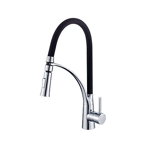 HENGMEI 360° Küchenarmatur schwenkbar Schwarz Wasserhahn Waschtischarmatur Einhebel Mischbatterie (Type F)