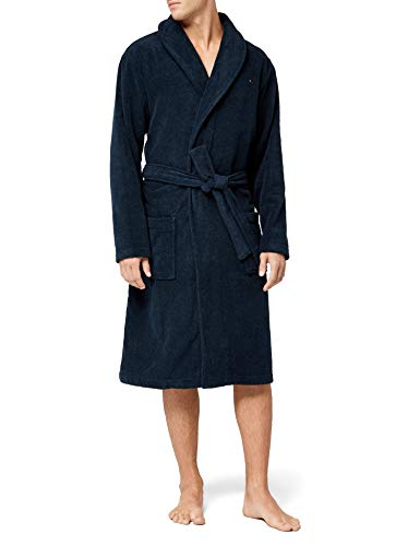 Tommy Hilfiger Herren Icon Bathrobe Bademantel, Blau (Navy Blazer-PT 416), Large