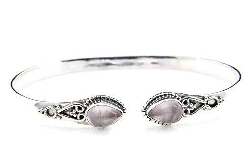 Rosenquarz Armreif 925 Silber Sterlingsilber Armband Armspange rosa (MAR 06-07)