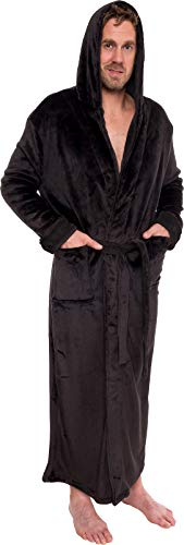 Ross Michaels Mens Hooded Long Robe - Full Length Big & Tall Bathrobe (Black, XXL)