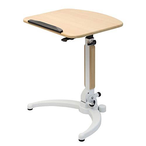 Mesa de cama para ordenador portátil, mesa colgante, ordenador de escritorio, sofá, extremo lateral, mesa de snack altura con ruedas, color blanco arce ajustable