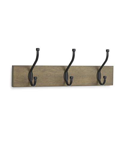 AmazonBasics - Perchero de madera de pared, 3 ganchos estándar 34 cm, Madera noble, 2 unidades