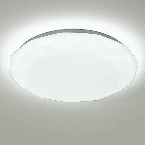 Kimjo Plafon LED de Techo 24W Luz Blanca, Lámpara de techo IP44 6000K 1500LM, LED Plafón Moderna Blanca para Sala de Estar Dormitorio Pasillo Decoración de cielo Estrellado, Luz de Techo Baño Φ34 cm