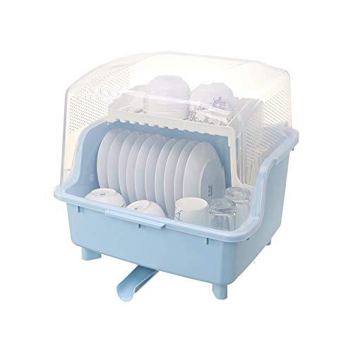 GAONAN Rack de drenaje a prueba de polvo, bastidor de secado de plato de doble capa, con tablero de drenaje y base, taza de cocina plato de secado bandeja de cubiertos platos de fragmento Rejilla del