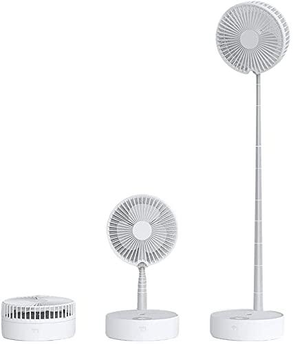 Ventilador de pedestal USB oscilante con control remoto integrado de velocidad y temporizador, altura e inclinación ajustables, ventilador de suelo para uso en exteriores y en casa (gris) (verde)