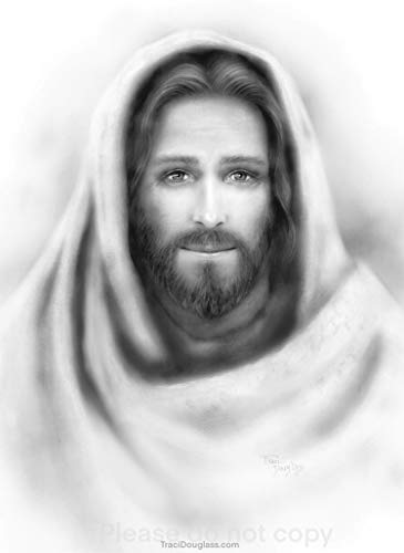 Picture of Jesus Christ Black & White Portrait Print Lo I am with You Always (5 x 7)