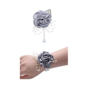 Flonding Rose Wedding Wrist Corsage and Boutonniere Set Party Prom Hand Ribbon Flower Suit Decor (Light Gray)