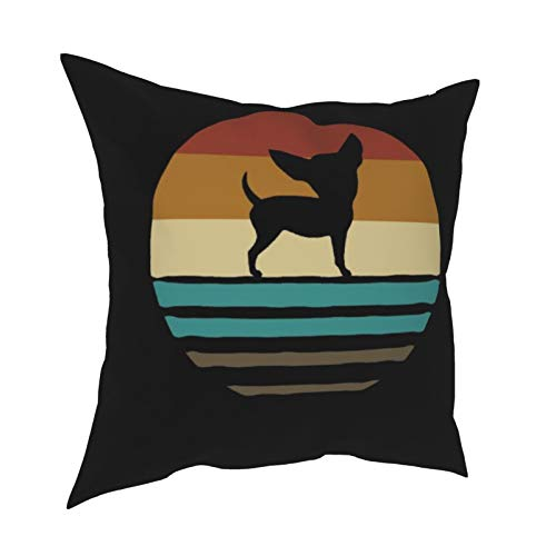 Funda de almohada de 45,7 x 45,7 cm, diseño de perro Chihuahua retro vintage silueta Bre cuadrado para decoración del hogar, sofá y cama, sofá