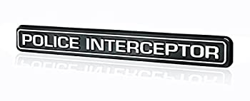 Police Interceptor Emblem Badge in Black & Chrome - 6.75  Long