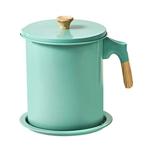 YYLH DepóSito de Grasa para Almacenamiento de Aceite para Cocina, Recipiente de Grasa de 1,7 L con Colador y Tapa a Prueba de Polvo, Recipiente de Filtro de Aceite, Verde Claro