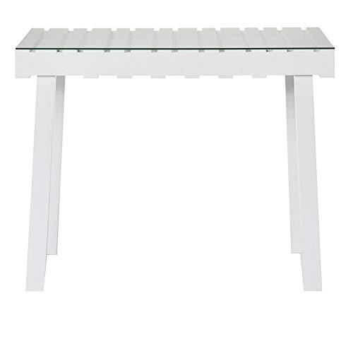 dasmöebelwerk IMPRESSIONEN Living Konsole Sideboard Tisch mit Glasplatte Beistelltisch weiß 8274541