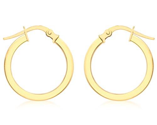Carissima Gold Damen 9k (375) Gelbgold 18mm Poliert Dreieckig Tube Creole Klappbar Post Ohrringe 1.52.7619