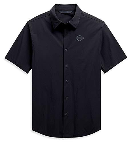 HARLEY-DAVIDSON Herren Kurzarm Hemd Freizeithemd aus Nylon Stretch, L
