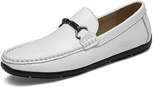 EGS-schuhe Herren Stiefel Mokassins Slip On Style OX Leder Fashion Metaldecor Low Top Reine Farben Driving Loafer,Grille Schuhe (Farbe   Weiß, Größe   44 EU)