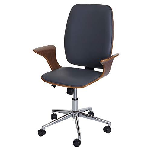Mendler Bürostuhl HWC-C54, Chefsessel Drehstuhl, Bugholz Kunstleder - Walnuss-Optik, Bezug grau