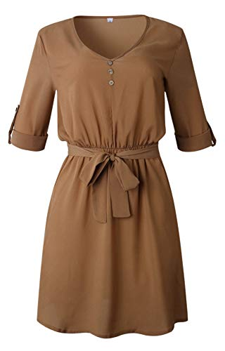 Arctic Cubic 3/4 Sleeve Deep V Neck Button Front Waist Belt Belted Tie Mini A-Line Shirt Dress