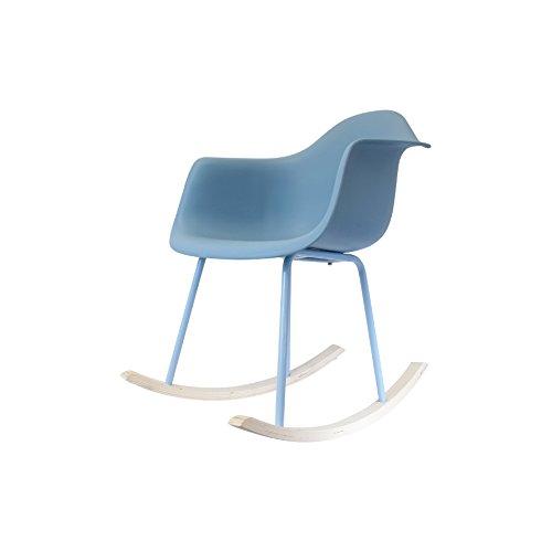 THE HOME DECO FACTORY - HD3609 - Lot de 2 Fauteuils à Bascule Metal+Pp Bleu 62, 50 x 75 x 82, 50 cm