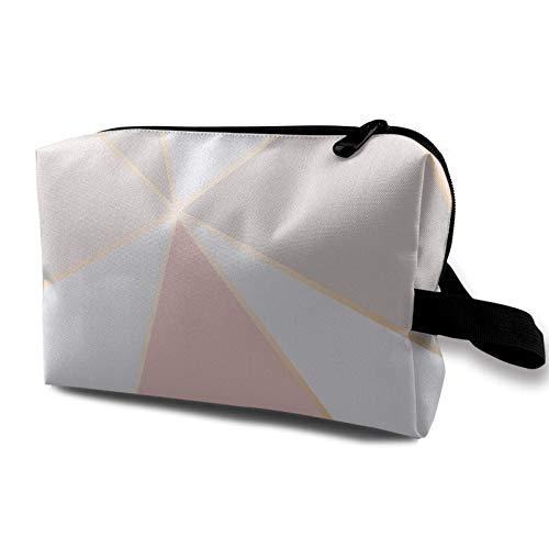 XCNGG Bolsas de aseo para niñas Bolsas de maquillaje de viaje espaciosas Bolsa de cosméticos de viaje portátil Patrón de espejo geométrico de oro rosa