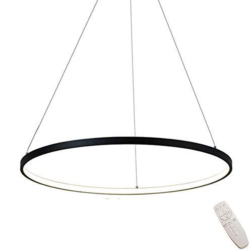 Modern LED-Pendelleuchte Schwarz Rund Ring Dimmbar Pendellampe mit Fernsteuerung Höhen-Verstellbar Decken-Hängeleuchte für Wohnzimmer Schlafzimmer Esszimmer Küchen Beleuchtung,φ60CM