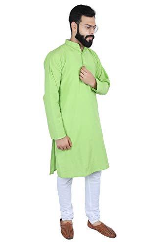 Himashu Handlooms Men's Cotton Long Kurta (Green_39)