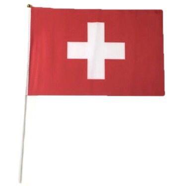12unidades banderas Bandera de Suiza Swiss Banderas Banderas de mano plástico Varillas 21x 14c