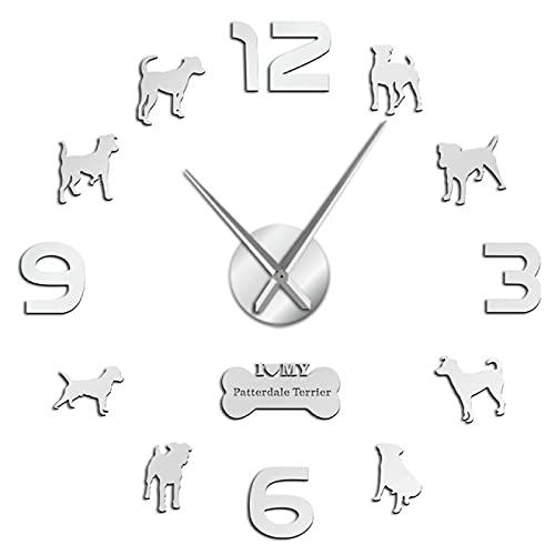 hufeng Reloj de Pared Siluetas Espejo Arte de la Pared Pegatinas DIY Reloj de Pared Colgante en inglés Sin Marco Silencioso 37 Pulgadas