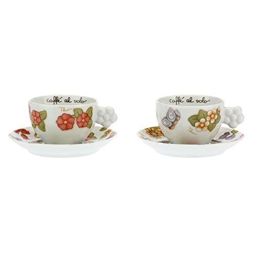 THUN - Set 2 Tazze Medie per tè, caffè, Tisana - Casa e Cucina, Tazze e Tazzine - Idea Regalo - Linea Country - Porcellana - 170 ml; 12x9x6 cm h; Piattino 14,7x14,7x2 cm h