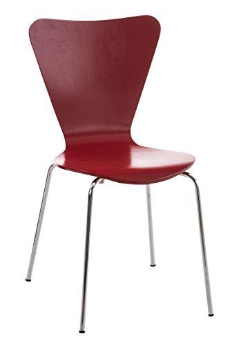 Sedia da Pranzo Impilabile Calisto in Legno E Telaio in Metallo I Sedia Conferenza E Riunioni I Altezza Seduta 45 CM, Colore:Rosso