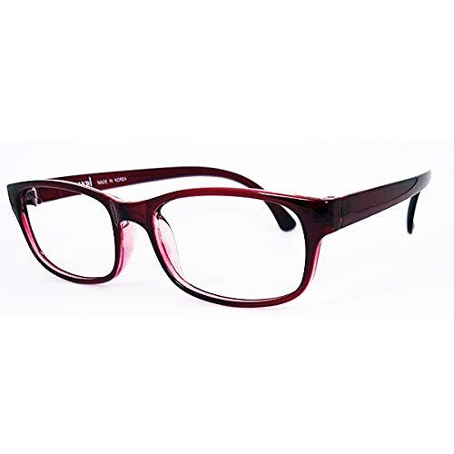 【おうちメガネ/度付き 】1.67超薄非球面レンズ,軽量フレーム,度付き眼鏡,近眼対応, 家メガネ,UVカット,男女兼用,M916,赤,ワイン (64, -2.00)