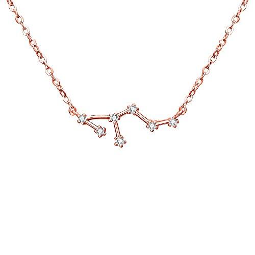 Collares Mujer - Clearine Serie de Constelación'León' Colgante Plata 925 Tono Oro Rosa Horóscopo Exclusivo para Regalo Boda Novia