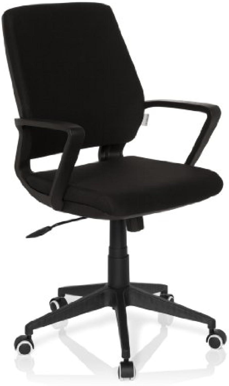 Hjh OFFICE 719280 Bürostuhl ESTRA schwarz Stoff Schwarz Drehstuhl Schreibtischstuhl gepolstert, ergonomische Rückenlehne