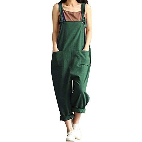 DOTBUY Damen Latzhose Jumpsuits Playsuit Overall mit Taschen Sommer Casual Elegant Loose Baggy Leinen Lange Wide Leg Hosen (3XL,Grün)