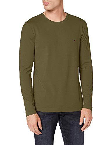 Tommy Hilfiger Herren Stretch Slim Fit Long Sleeve Tee Hemd, Utility Olive, L