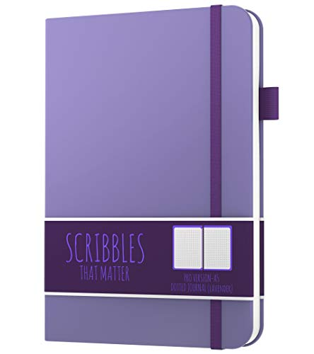 B6 Dotted Journal by Scribbles That Matter - Bullet Dot Grid Notebook - No Bleed Ultra-Thick Fountain Pens Friendly Paper - Hardcover with Large Inner Pocket - Pro Version - Lavender