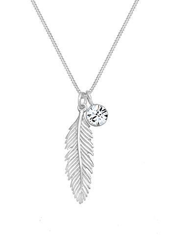 Elli Halskette Damen Feder Boho Anhänger mit Kristall in 925 Sterling Silber