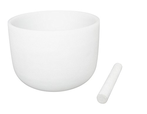 White Frosted Singing Bowls C Note Crystal Singing Bowl Root Chakra 8 Inch Best Quality Suede Mallet Included
