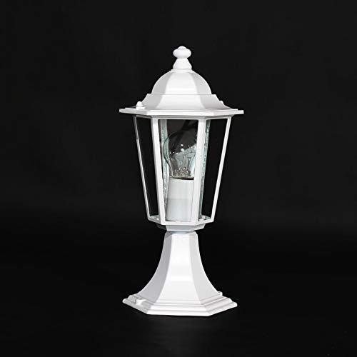 Lámpara para Iluminación de Caminos Zócalo de Color Blanco de Metal y Vidrio Auténtico RA2/2/801