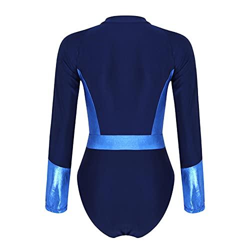 MSemis Women Digital Printed Long Sleeve Zip Rashguard Shirts Beach Sun Protective Swimsuit Navy Blue X-Large