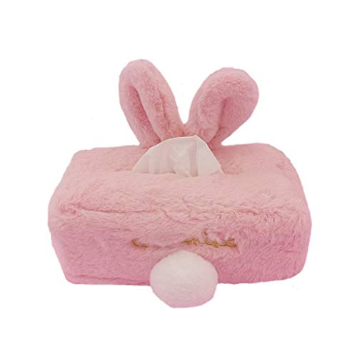 Ruiting Taschentuchbox, Plüsch Tissue Box, Platz Nette Serviette Papier Box Organizer Weiche Serviettenhalter Box Kaninchen Weiß