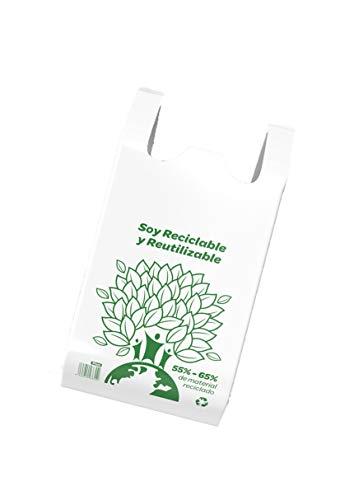 YMBERSA Bolsa Camiseta Reutilizable desechable Greenatur Grande (48 x 59 cm) para Comercio Tiendas. Plástico Reciclado más del 50%. Color Blanco. Paquete 60 Ud