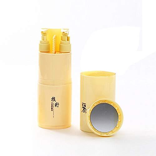 5 en 1 Portable gargariser Cup Shampooing Sous-Bouteille Peigne Miroir de maquillage Kits de lavage Voyage,ZhongsFa (Color : Khaki)