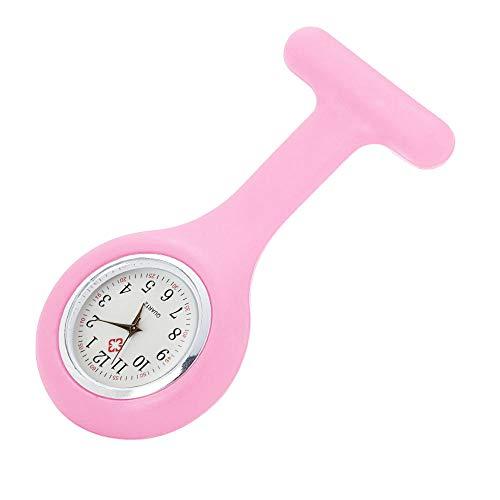 Skxinn Uhren Krankenschwesteruhr Damenuhr Uhr Pflegeruhr Ansteckuhr Silikon Hülle Schwesternuhr Brosche Taschenuhr Analoge Quarzuhr Ausverkauf(Rosa,One Size)