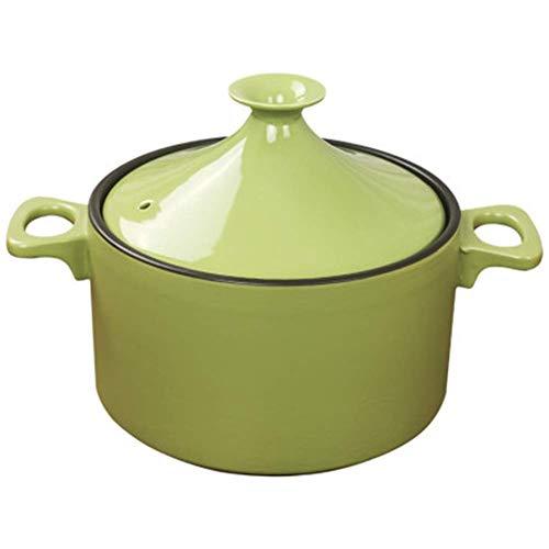 ZHHZ Olla de cerámica de Arcilla sin Plomo Hecha a Mano Original marroquí 23,5 cm Olla de Piedra refractaria de Gas doméstico con Tapa de cerámica, Verde