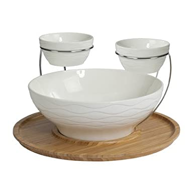 Creative Bath Products Wine and Dine Entertainment Collection Bamboo/Porcelain Double Chip and Dip Set, White